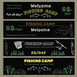 Set of chalk board invitation for fishing in the. Vector illustration of set of chalk board invitation for fishing in the camp. Template for design tickets Royalty Free Stock Photography