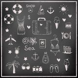 Set of chalk board vector travel elements Stock Images