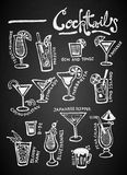 Set of chalk Cocktails   on blackboard. Set of chalk Cocktails Doodles Hand Drawn on blackboard Stock Photos
