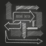 Set of chalk drawing arrows. On the blackboard Royalty Free Stock Images