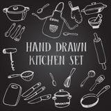 Set chalk drawing kitchen Stock Photography