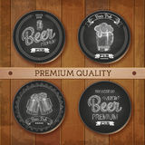 Set of chalk drawing labels with beer Royalty Free Stock Image