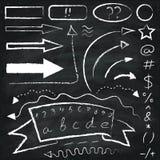 Set of chalk drawn arrows and symbols. Set of chalk drawn arrows and symbols on the chalkboard background royalty free illustration