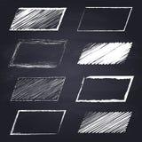 Chalk drawn parallelogram on chalkboard background. Set of chalk drawn parallelograms. Geometric figures on chalkboard background. Free hand drawn illustration royalty free illustration