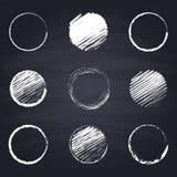 Chalk drawn round, circle on chalkboard background. Set of chalk drawn rounds, circles. Geometric figures on chalkboard background. Free hand drawn illustration stock illustration
