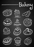 Set of chalk hand drawing bakery Stock Photography