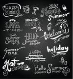 Set of chalk hand drawing summer Stock Photo