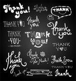 Set of chalk hand drawing THANK YOU on blackboard Stock Image