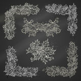 Set of chalk holly berries page decorations and dividers. Stock Photography