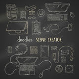 Set of chalk scene creator elements on blackboard background. Stock Image
