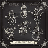 Set of chalk snowmen. Royalty Free Stock Photography