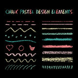 Set of chalk strokes, curved lines royalty free illustration