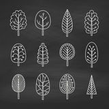 Set of chalk trees on the chalkboard. Stock Images