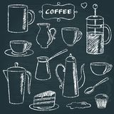 Set of chalkboard coffee items Stock Images
