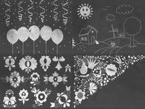 Set of chalkboard drawings Stock Photography