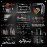 Set of chalkboard infographics and business icons. Stock Photos