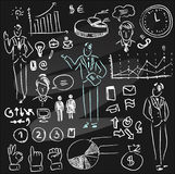 Set of chalkboard infographics. And business icons Stock Images