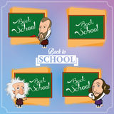 Set Of Chalkboards With Characters Stock Images
