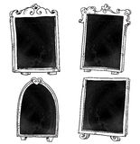 Set of chalkboards. Hand drawn Royalty Free Stock Photos