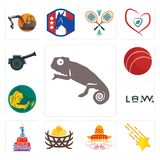 Set of chameleon, shooting stars, burrito, bird nest, 1st birthday, law, welder, cricket ball, cannon icons. Set Of 13 simple editable icons such as chameleon Royalty Free Stock Image