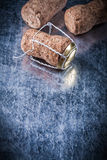 Set of champagne corks twisted wire on metallic background copys Stock Photography