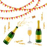 Champagne bottle, glass, flags and spiral confetti Royalty Free Stock Photography