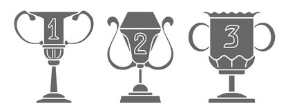 Set of champion cup in trendy flat style icon. Simple winner symbol. Vector Royalty Free Stock Photos