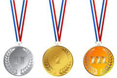 Set of champions medals Stock Photo