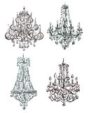 Set of chandelier drawings Royalty Free Stock Photos