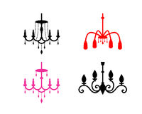 Set of chandelier icons in silhouette style, vector Royalty Free Stock Images