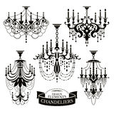 Set of chandelier silhouettes Royalty Free Stock Image