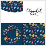 Set of Chanukah in doodle style. menorah, dreidel, oil, Torah, donut. Round frame, seamless pattern, hand lettering. Set of Chanukah Design Elements in doodle vector illustration