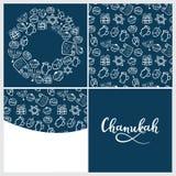 Set of Chanukah. menorah, dreidel, oil, Torah, donut . Round frame, seamless pattern in doodle style, hand lettering. Set of Chanukah Traditional attributes of royalty free illustration