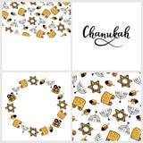 Set of Chanukah menorah, dreidel, Torah, in doodle style. Round frame, seamless pattern, hand lettering. Set of Chanukah Traditional attributes of the menorah royalty free illustration