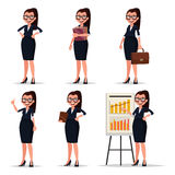 Set character businesswoman, secretary or teacher. Smiling busin Stock Images