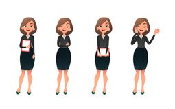 Set character businesswoman in various poses. Cartoon vector secretary or teacher on different working situations Royalty Free Stock Photography