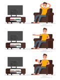 Set character man sitting in a chair and watching television on Royalty Free Stock Image