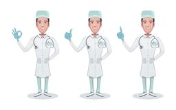 Set of character medical doctor. Doc holds syringe. Healthcare and medical help. Doctor, consulting, shows gestures of a positive. Result. Vector illustration stock illustration