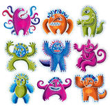 Set of character monsters vector flat illustration, collection o Royalty Free Stock Photo