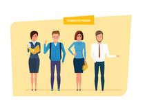 Set of character person: teacher, schoolboy, businesswoman, bank employee. Set of character person business and education. Teacher with documents in her hands Royalty Free Stock Photo