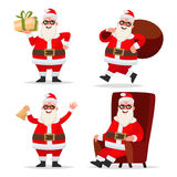 Set the character of Santa Claus gives a gift,  running with a b Royalty Free Stock Photo
