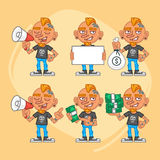 Set Character Tattoo Artist Holding Megaphone Money Paper. Vector Illustration. Mascot Character Stock Image