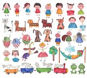 Set characters. Artistic work. Watercolors on paper Stock Image
