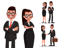 Set of characters business couple. Handshake and cooperation. Ma Royalty Free Stock Image