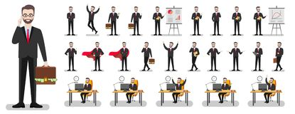 Set of characters of a businessman in a suit on a white background in various poses royalty free illustration