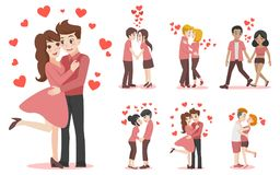 Set of characters cartoon couple of lover for love valentines day. Set of characters cartoon cute couple of lover for love valentine`s day, holidays flat design royalty free illustration