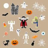 Set of characters in cartoon style elements of halloween festival on paper background. Set of characters in cartoon style with pumpkin, dracula, skeleton, mummy Royalty Free Stock Image