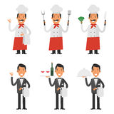 Set characters chef and waiter Stock Images
