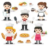 Set of characters of Chefs with Foods and Desserts. Set of characters of Chefs with Foods and Desserts . Chefs Icon. Professional Cooking Chefs Working In Stock Photos