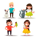 Set of characters. Children with pets. Vector illustration. Of a flat design Royalty Free Stock Images